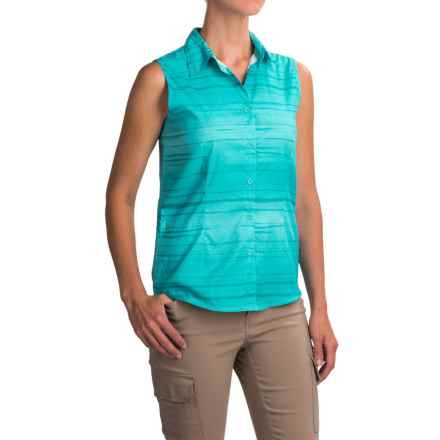 White Sierra Gobi Desert Shirt - UPF 30, Sleeveless (For Women) in Blue Radiance - Closeouts