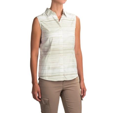 White Sierra Gobi Desert Shirt - UPF 30, Sleeveless (For Women) in Sand