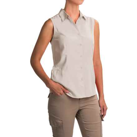 White Sierra Gobi Desert Shirt - UPF 30, Sleeveless (For Women) in Snow White - Closeouts