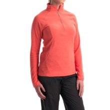 White Sierra Hexi Fleece Shirt - Zip Neck, Long Sleeve (For Women) in Hot Coral - Closeouts