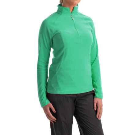 White Sierra Hexi Fleece Shirt - Zip Neck, Long Sleeve (For Women) in Mint - Closeouts
