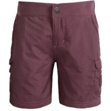 White Sierra Jr. Crystal Cove River Shorts - UPF 30 (For Little and Big Girls) in Dark Grape - Closeouts