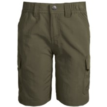 White Sierra Jr. Rocky Ridge Hiking Shorts - UPF 30 (For Little and Big Boys) in Dark Sage - Closeouts