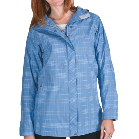 White Sierra Junket Rainwear Jacket - Waterproof, Long (For Women) in Riviera Plaid