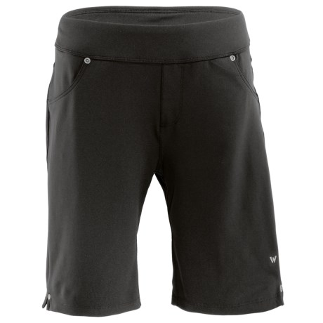 White Sierra Knit Hiking Shorts - Stretch Fabric (For Women) in Black