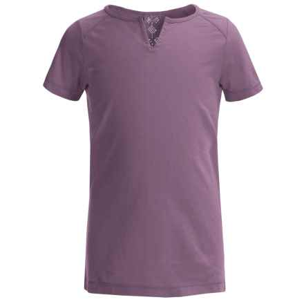 White Sierra Kylie T-Shirt - Organic Cotton, Short Sleeve (For Little and Big Girls) in Grape - Closeouts