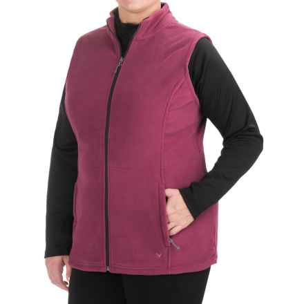White Sierra Mountain Fleece Vest (For Plus Size Women) in Crushed Grape - Closeouts