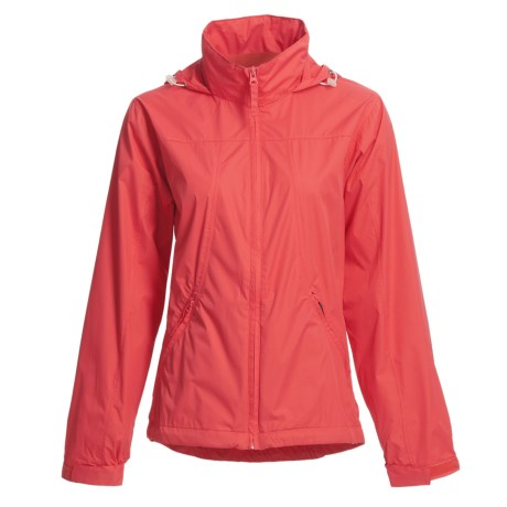 White Sierra Paradise Cove Wind Jacket (For Plus Size Women) in Hibiscus