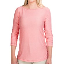 White Sierra Pinstripe Tunic Shirt - Long Sleeve (For Women) in Coral - Closeouts