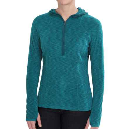 White Sierra Rainbow Hoodie - Zip Neck (For Women) in Jewel Green - Closeouts