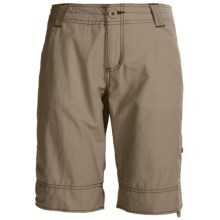 White Sierra Ridgecrest Roll-Up Bermuda Shorts - Herringbone , Cotton-Rich (For Women) in Bark - Closeouts