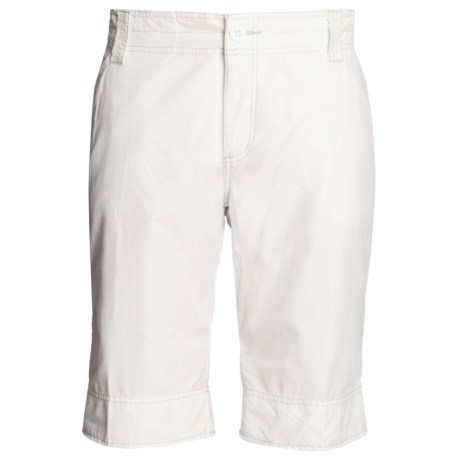 White Sierra Ridgecrest Roll-Up Bermuda Shorts - Herringbone , Cotton-Rich (For Women) in White