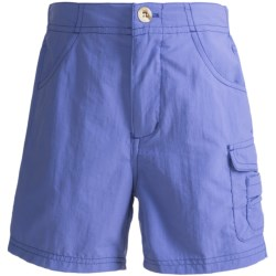 White Sierra River Shorts - UPF 30 (For Girls) in Blue Fish