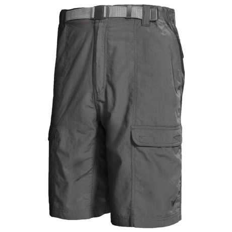 White Sierra Safari Shorts - UPF 30 (For Men) in Caviar