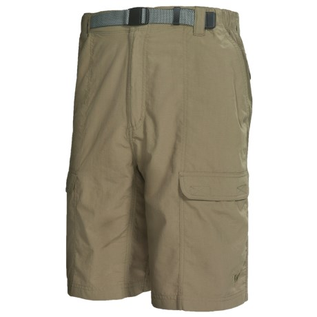 White Sierra Safari Shorts - UPF 30 (For Men) in Sage