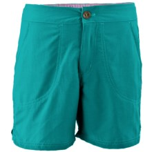 White Sierra Sand & Sun Shorts - UPF 30 (For Little and Big Girls) in Vivid Green - Closeouts