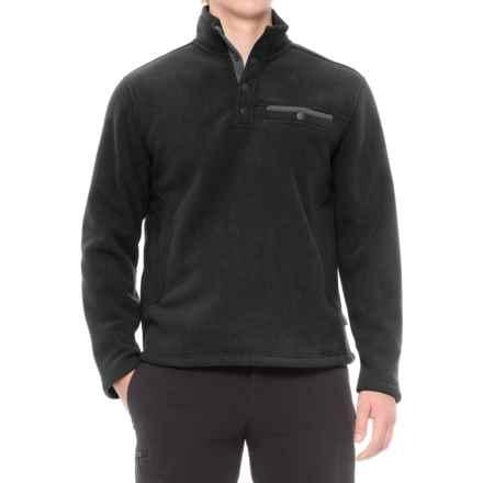 White Sierra Sherpa Fleece Sweatshirt - Snap Placket (For Men) in Black - Closeouts