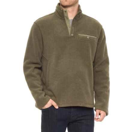 White Sierra Sherpa Fleece Sweatshirt - Snap Placket (For Men) in Dark Sage - Closeouts