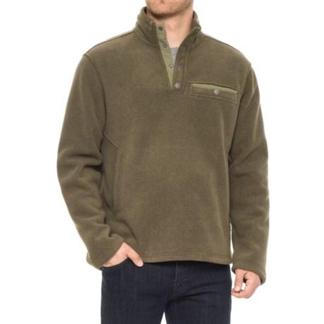 White Sierra Sherpa Fleece Sweatshirt - Snap Placket (For Men) in Dark Sage