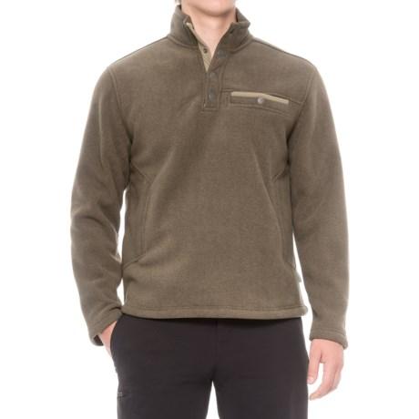 White Sierra Sherpa Fleece Sweatshirt - Snap Placket (For Men) in Wren