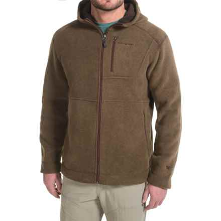 White Sierra Sherpa Hooded Fleece Jacket (For Men) in Mole - Closeouts