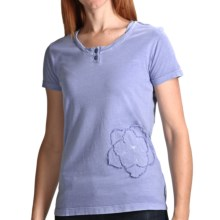 White Sierra Sugarloaf Henley T-Shirt - Short Sleeve (For Women) in Sapphire - Closeouts