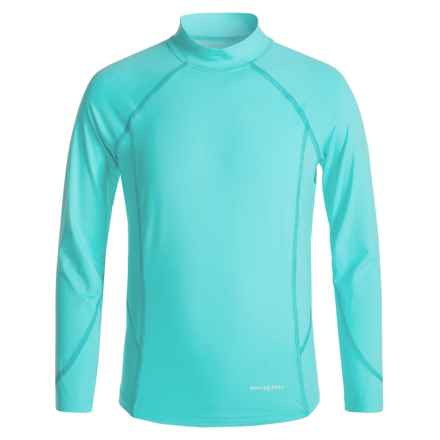 White Sierra Sun Barrier T-Shirt - UPF 30, Mock Neck, Long Sleeve (For Little and Big Girls) in Blue Radiance - Closeouts