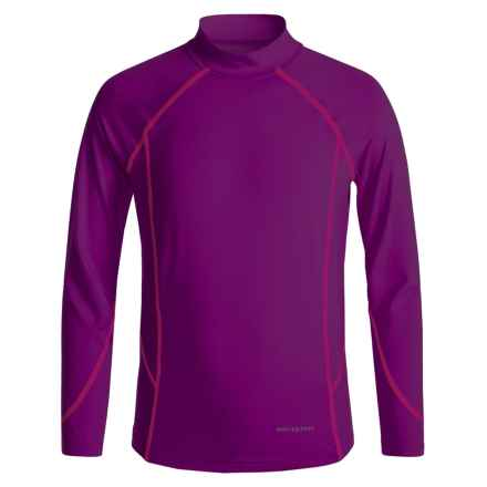 White Sierra Sun Barrier T-Shirt - UPF 30, Mock Neck, Long Sleeve (For Little and Big Girls) in Dark Purple - Closeouts