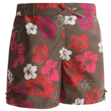 White Sierra Sunset Lake Shorts - UPF 30, Peached Twill (For Girls) in Hibiscus Combo - Closeouts