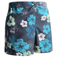 White Sierra Sunset Lake Shorts - UPF 30, Peached Twill (For Girls) in Vintage Indigo Combo - Closeouts