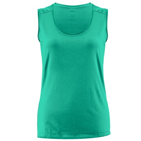 White Sierra Tahoe Tank Top - Scoop Neck, Stretch Rayon (For Women) in Emerald Island