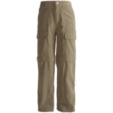 White Sierra Trail Convertible Pants - UPF 30 (For Youth) in Bark - Closeouts
