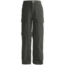 White Sierra Trail Convertible Pants - UPF 30 (For Youth) in Caviar - Closeouts