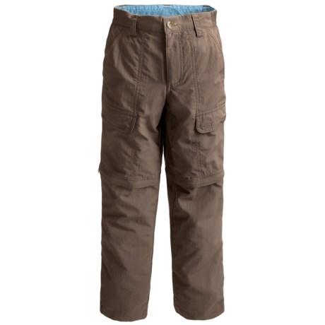 White Sierra Trail Pants - UPF 30, Convertible (For Boys) in Bark