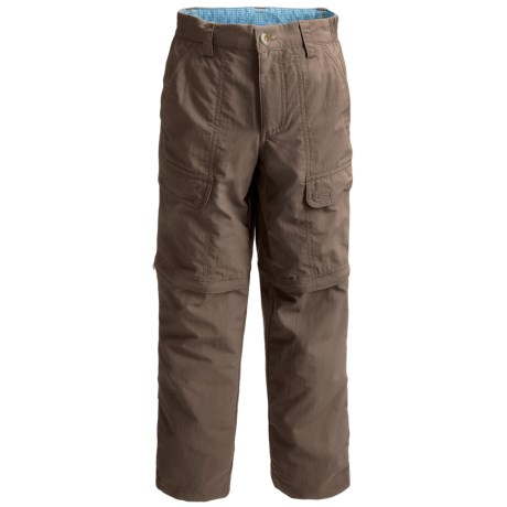 White Sierra Trail Pants - UPF 30, Convertible (For Little & Big Boys) in Bark