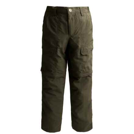 White Sierra Trail Pants - UPF 30, Convertible (For Youth) in Dark Sage - Closeouts