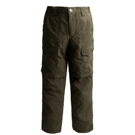 White Sierra Trail Pants - UPF 30, Convertible (For Youth) in Dark Sage
