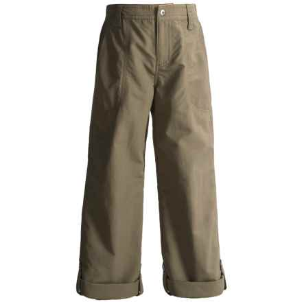 White Sierra Trail Roll-Up Pants - UPF 30 (For Little and Big Girls) in Bark - Closeouts