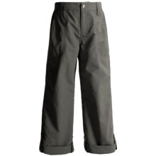 White Sierra Trail Roll-Up Pants - UPF 30 (For Little and Big Girls) in Caviar - Closeouts