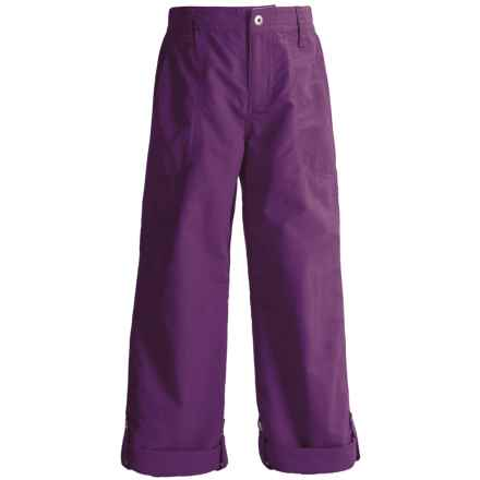 White Sierra Trail Roll-Up Pants - UPF 30 (For Little and Big Girls) in Shadow Purple - Closeouts