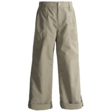 White Sierra Trail Roll-Up Pants - UPF 30 (For Little and Big Girls) in Stone - Closeouts