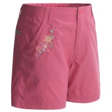White Sierra Trail Shorts - UPF 30 (For Girls) in Pink Sunset - Closeouts