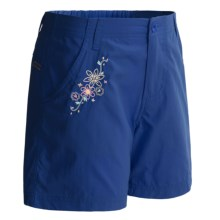 White Sierra Trail Shorts - UPF 30 (For Girls) in Shield Blue - Closeouts