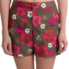 White Sierra Tropical Sand and Sun Shorts - UPF 30 (For Women) in Hibiscus Combo - Closeouts