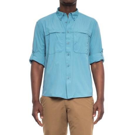 White Sierra Yellowstone Shirt - UPF 30, Long Sleeve (For Men) in Niagara Blue