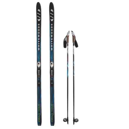 Whitewoods Crosstour Touring Nordic Skis - Rottefella NNN Touring Combi Bindings and Poles in Black/Blue - Closeouts