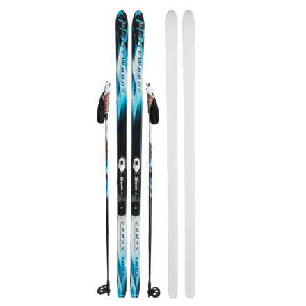 Whitewoods Crosstour Touring Nordic Skis - Rottefella NNN Touring Combi Bindings and Poles in Blue - Closeouts