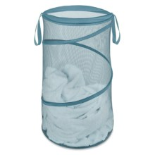 """Whitmor Collapsible Laundry Hamper - 15"""" in Berry Blue - Closeouts"""