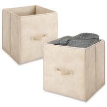 """Whitmor Collapsible Storage Cubes - Set of 2, 14"""" in French Vanilla - Closeouts"""
