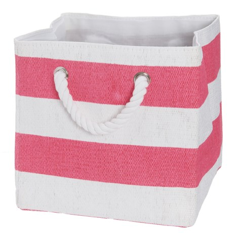 Whitmor Rugby Stripe Rope Storage Tote Bag in Pink